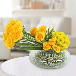 Yellow Roses N Daisies Arrangement
