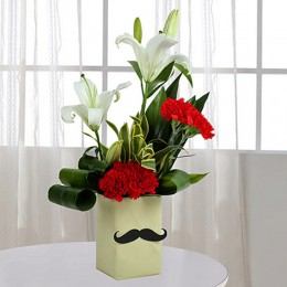 Red Carnation N Leaves Arrangement
