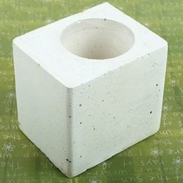 White Square Concrete Planter