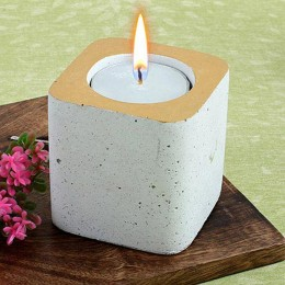 White Concrete Tea Light Holder