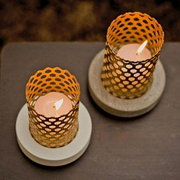 Set Of Two Cage Like Candle Holders