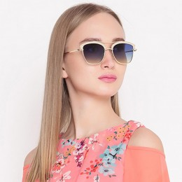 Gold N Blue Wayfarer Women Sunglasses