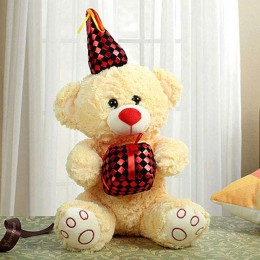 Yellow Bear With Red Gift