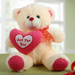 White Teddy Bear With Heart