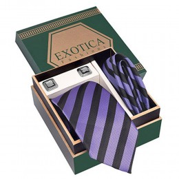 Purple N Black Tie Set