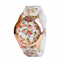 White Floral Silicone Watch For Women