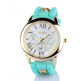 Chained Turquoise Silicone Watch For Women