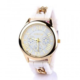 Chained White Silicone Watch For Women