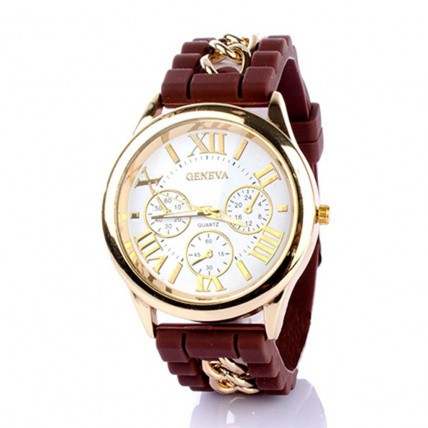 Chained Brown Silicone Watch For Women