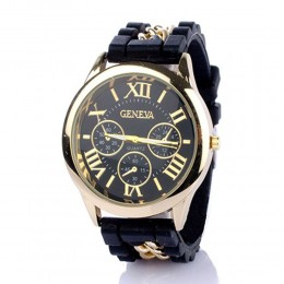 Chained Black Silicone Watch For Women