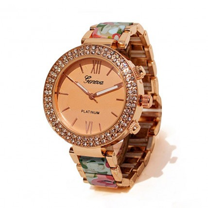 Floral Beige N rose gold Watch For Women