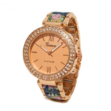 Floral Blue N rose gold Watch For Women