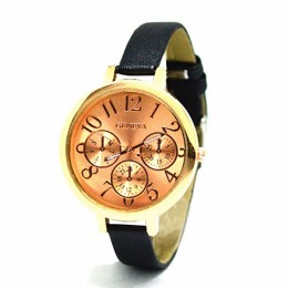 Sleek rose gold Black Watch For Women