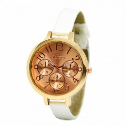 Sleek rose gold White Watch For Women