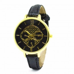 Chrono Print Black Watch For Women
