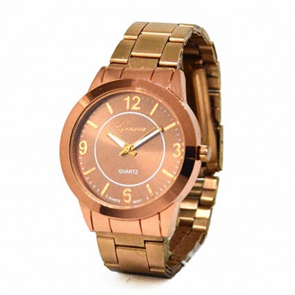Classic Brown Metallic Watch For Women