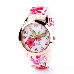 Floral Silicone Watch For Women