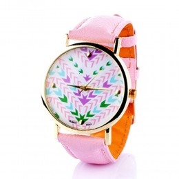 Printed Pink Watch For Women