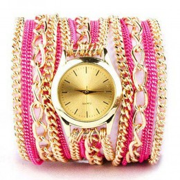 Pink N Gold Chain Watch For Women