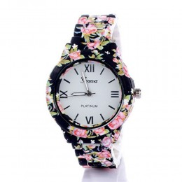 Black N Pink Floral Watch For Women