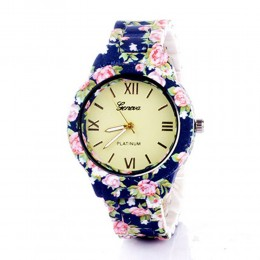 Blue N Pink Floral Watch For Women
