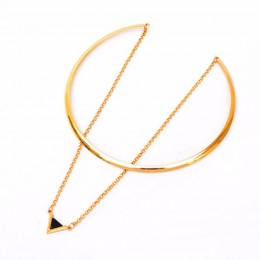 Triangle Pendant Gold Choker Necklace