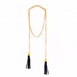 Black Tassel Pendant Necklace