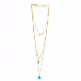 Triple layer Turquoise pendant Necklace