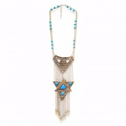 Geometric Blue Tribal Necklace