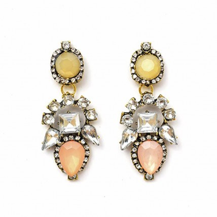 Beige Sparkling Stone Earrings