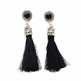 Black N Silver Tassel Drop Earrings