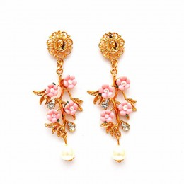 Pearl Drop Pink Flower Earrings