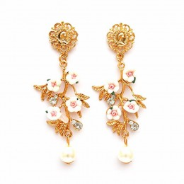 Pearl Drop White Flower Earrings