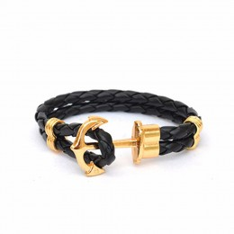 Black Anchor Braided Bracelet
