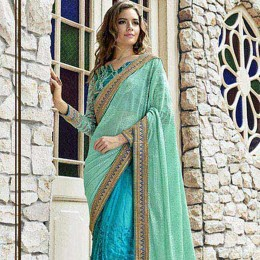 Blue Colored Embroidered Net Wedding Saree