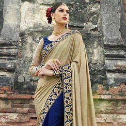Blue Colored Embroidered Crape Net Partywear Saree