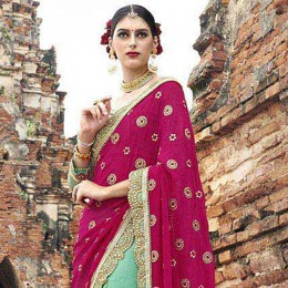 Green Colored Embroidered Crape Net Partywear Saree