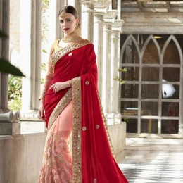 Contrasting Peach and Golden Saree