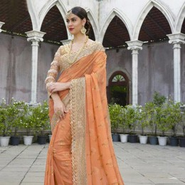 Peach and Beige Saree with Golden Worked Border