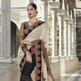 Silk and Net Party Wear Embroidered Saree