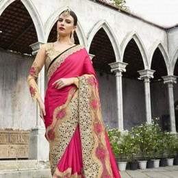 Pink and Golden Floral Embroidery Saree