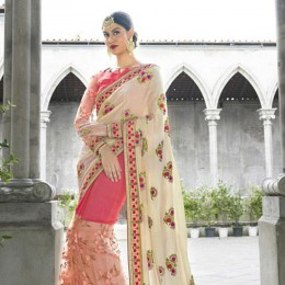 Elegant Off White and Pink Floral Embroidery Wedding Saree