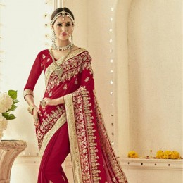 Ethnic Red Embroidered Saree