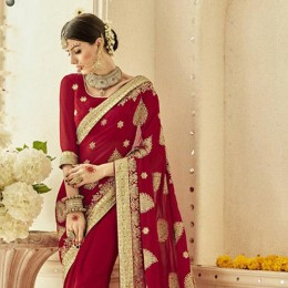 Gorgeous Red Saree with Golden Embroidery