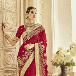 Trendy Red Georgette Party Wear Saree