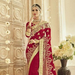 Fancy Embroidered Red Saree