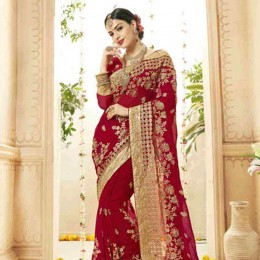 Ethnic Red Embroidered Faux Georgette Saree