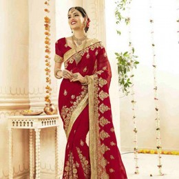 Floral Embroidered Saree in Sensual Red