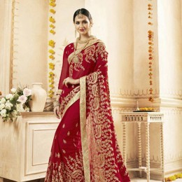 Sparkling Combination Saree in Gold and Red