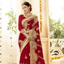 Faux Georgette Wedding Saree in Red and Gold